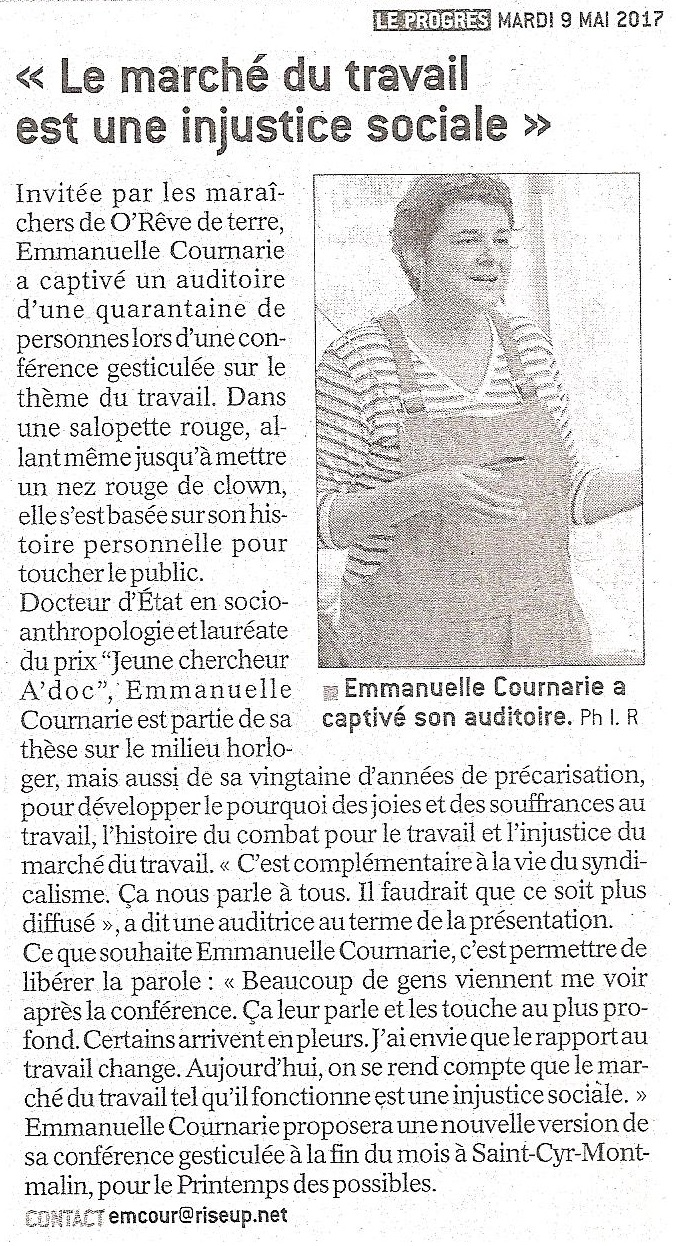 Article de presse Emmanuelle Cournarie